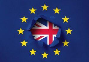 European Union flag and United Kingdom Flag