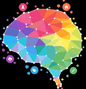 clip art brain with rainbow colors