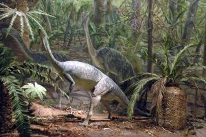 drawing in dinosaurs in a jungle
