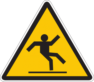 caution sign with person slipping