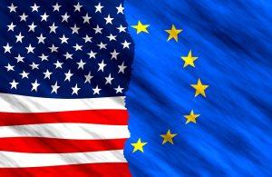 American Flag and the European Union flag