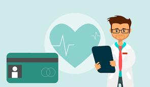health insurance card, heart beating, doctor