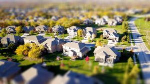suburban neighborhood from up above