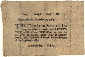 picture of paper from 1769 talking about the sons of liberty